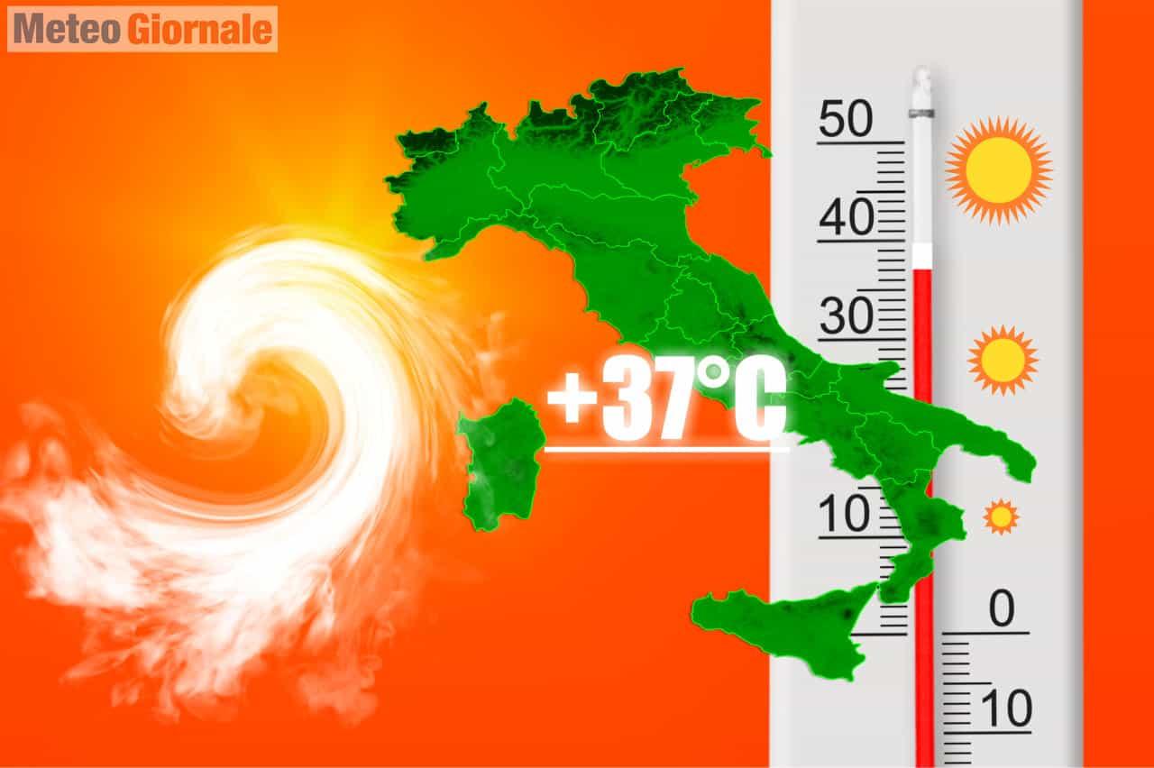 evoluzione meteo ciclone mediterraneo - Meteo con subito un'area ciclonica nel Mediterraneo. Ondata di Caldo