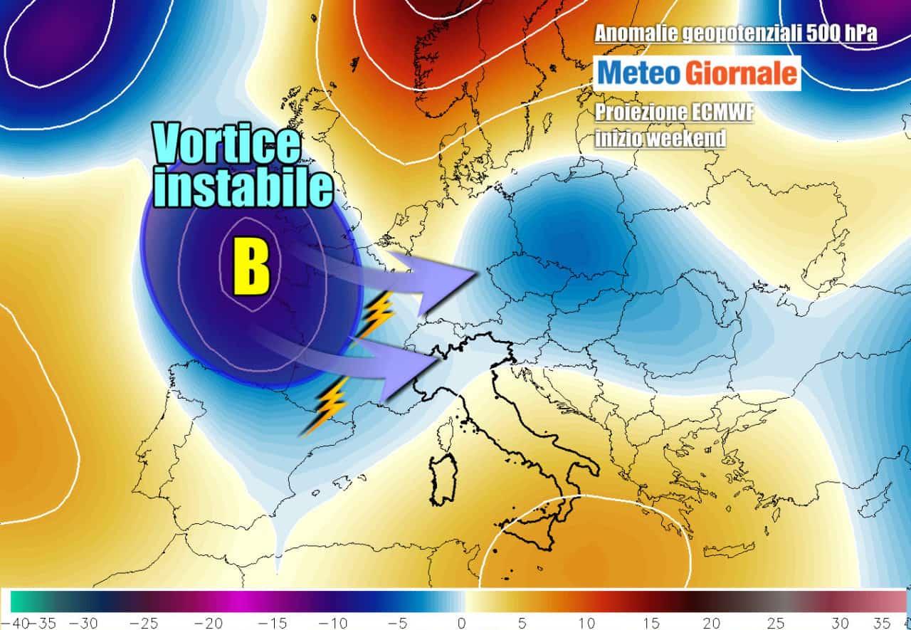 geopotenziali 500hpa anomalie - Meteo Weekend in arrivo VORTICE Ciclonico con TEMPORALI. E l'anticiclone africano?