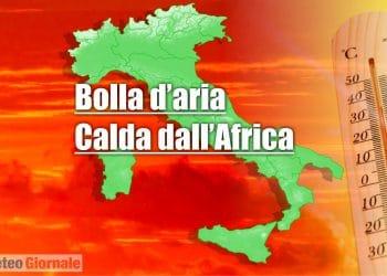 meteo con bolla aria calda africana