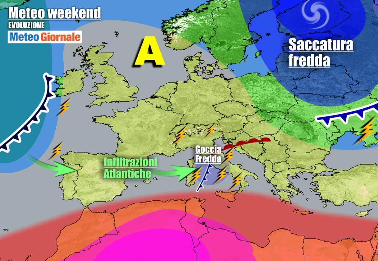 meteogiornale previsioni 7 giorni 1 - Meteo 7 giorni: l'Atlantico rompe gli indugi, WEEKEND con rischio TEMPORALI