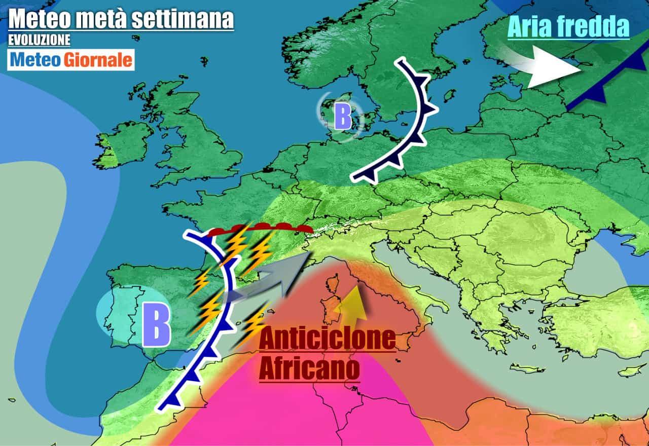 meteogiornale previsioni 7 giorni 13 - Meteo 7 giorni: fiammata di CALDO dall'AFRICA, da metà settimana temporali