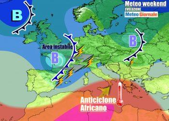 Italia tra un vortice e l'anticiclone africano nel weekend
