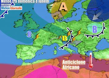 Correnti instabili sul Nord Italia e anticiclone africano al Sud