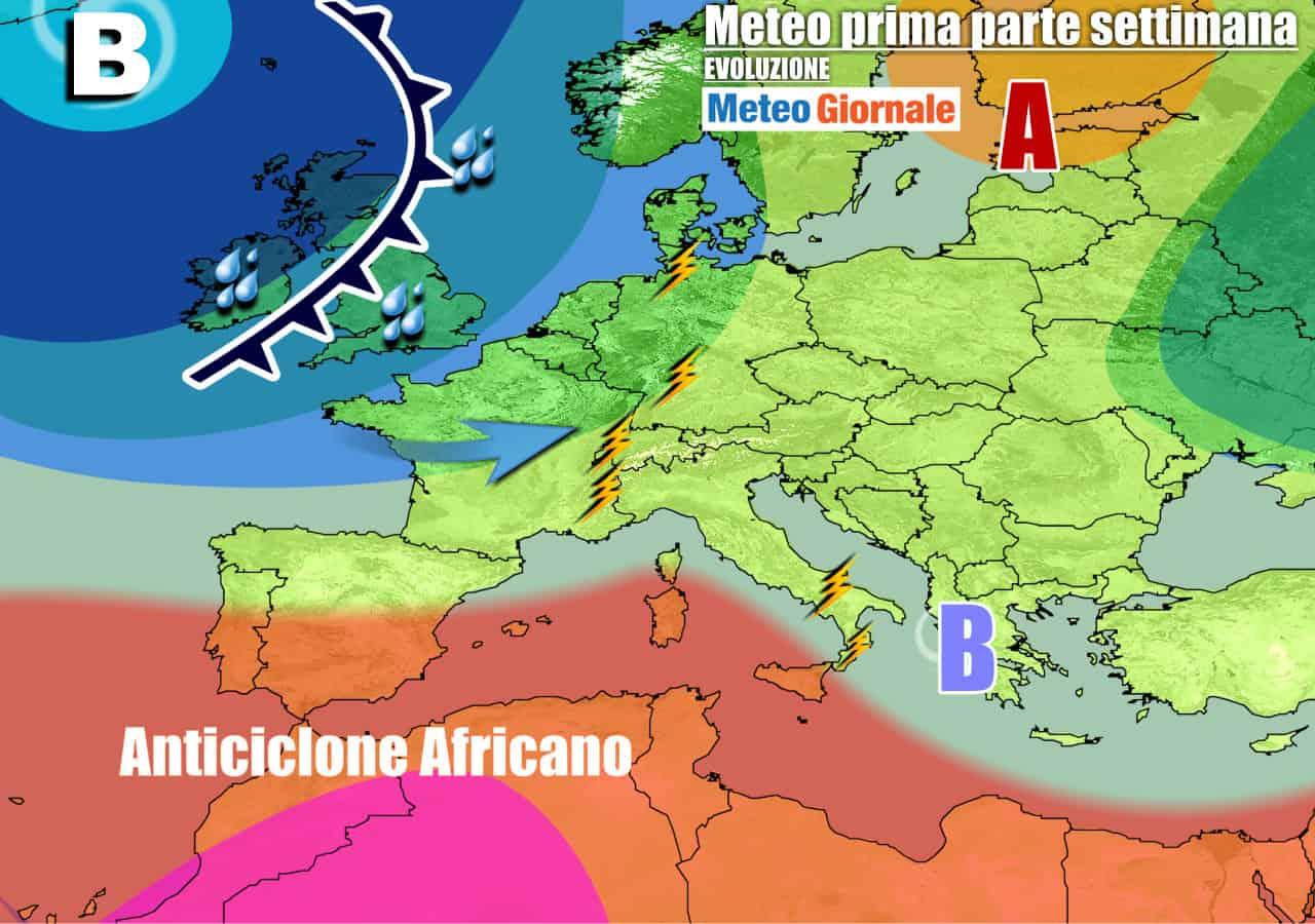 meteogiornale previsioni 7 giorni 27 - Meteo nuova settimana: ACQUAZZONI e TEMPORALI, deciso CROLLO termico