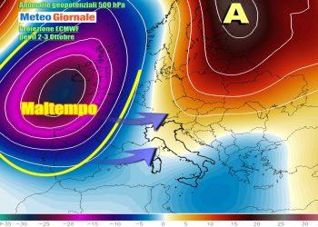 Verso ipotesi di maltempo atlantico alla fine del primo weekend di ottobre