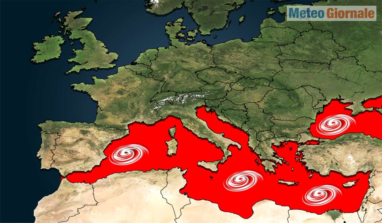 uragani mediterranei - Meteo Mediterraneo, insistente rischio piccoli e cattivi Uragani