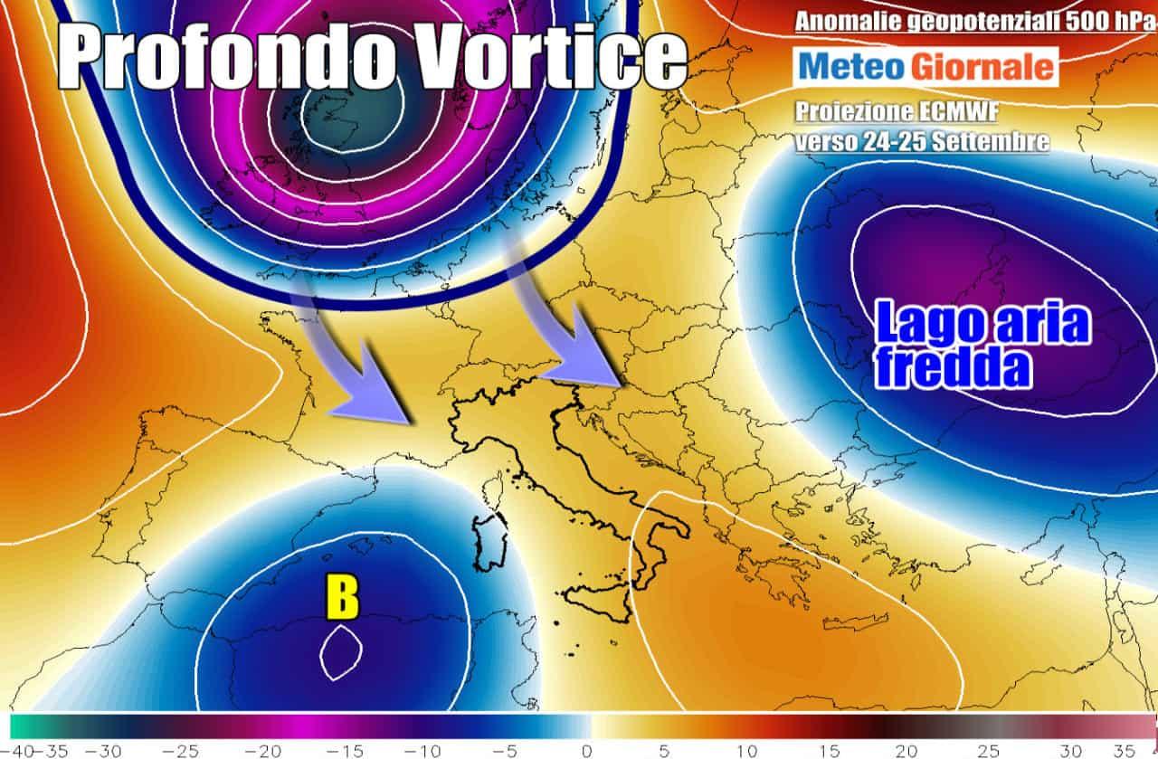 vortice fine settembre - Meteo fine Settembre: CICLONE su mezza Europa, effetti attesi sull'Italia