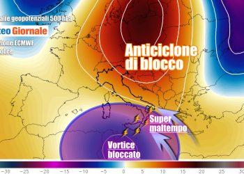 Rischio fenomeni violenti per il vortice afro mediterraneo