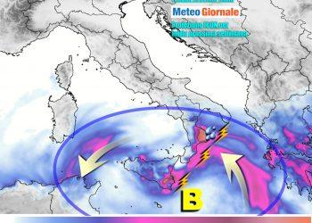 Rischio piogge violente al Sud Italia