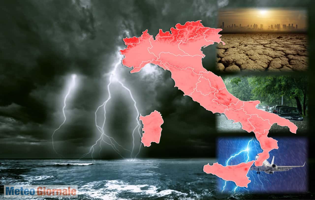 meteo con forti temporali - Verso meteo PESSIMO, Lunedì a rischio nubifragi in varie regioni italiane