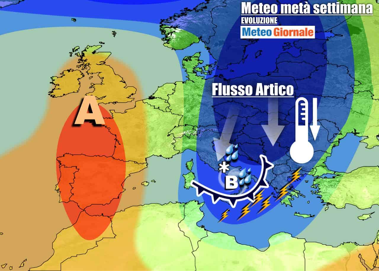 meteogiornale previsioni 7 giorni 10 - Meteo sino weekend. Nuova offensiva del FREDDO con MALTEMPO INVERNALE