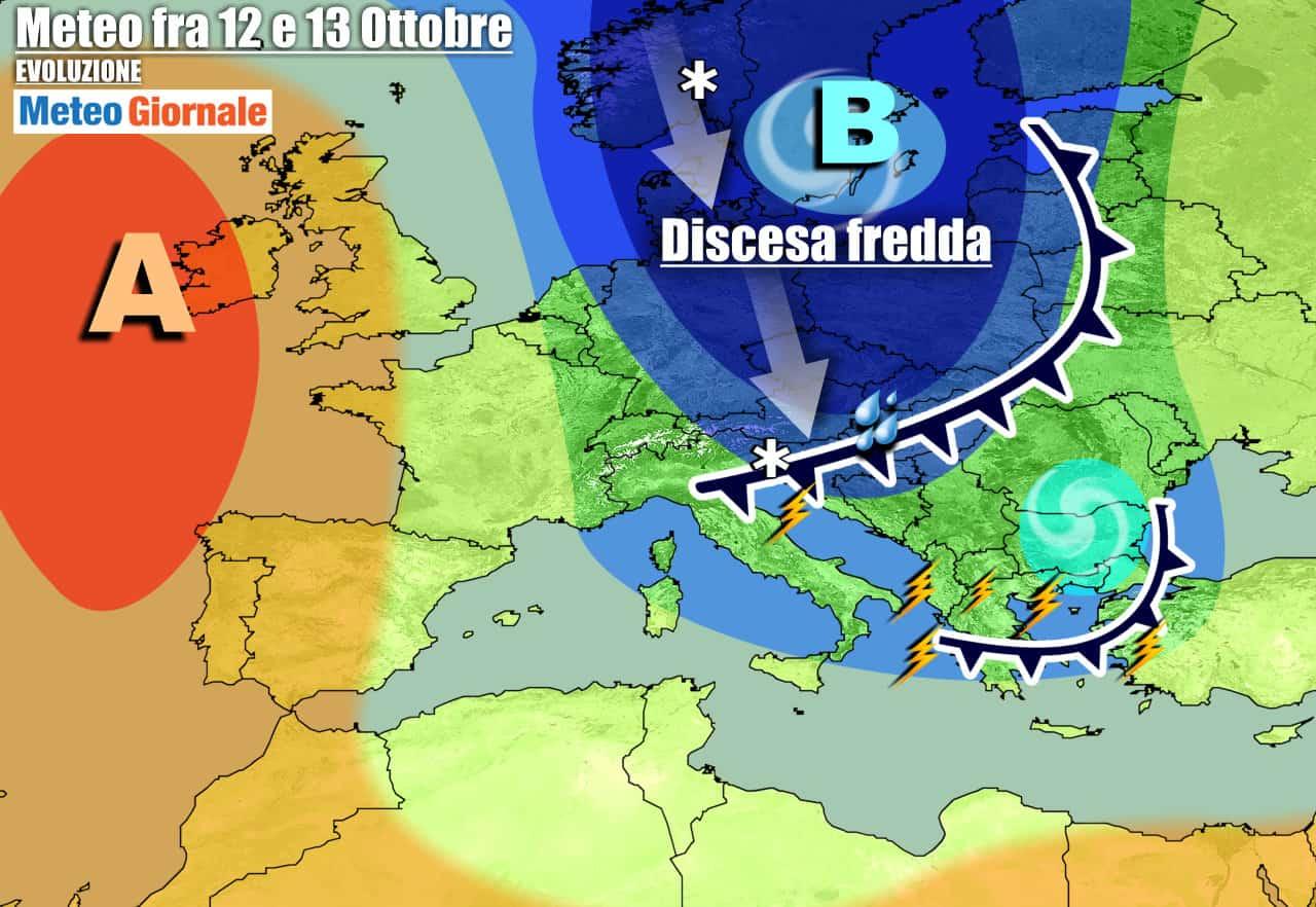 meteogiornale previsioni 7 giorni 9 - Meteo settimana. Altro MALTEMPO con PIOGGIA, FREDDO e NEVE a quote basse
