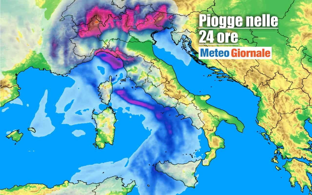 piogge 24 ore - Severo PEGGIORAMENTO METEO: prossime ore rischio NUBIFRAGI