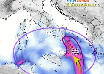 Quantitativi di pioggia spropositati attesi ancora nella fascia ionica del Sud Italia