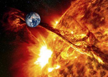 Il campo magnetico terrestre respinge il vento solare e le sue particelle. Credit NASA, post elaborazione.
